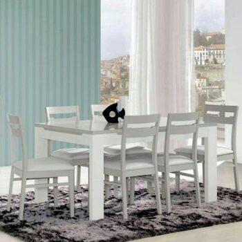 Viena White /Grey Ext Dining Table