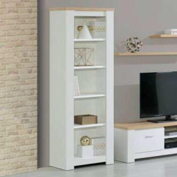 Florenca White/Oak Narrow Bookcase