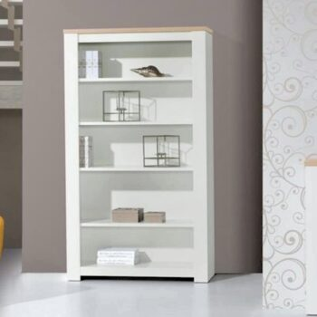 Florenca White/Oak Wide Bookcase
