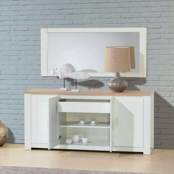 Florenca White/Oak 4 Door Sideboard