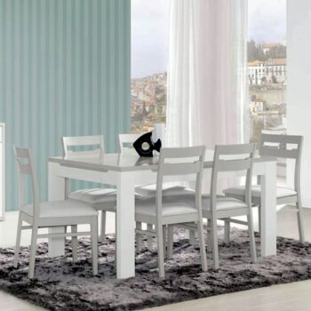 Viena White /Grey Ext Dining Table