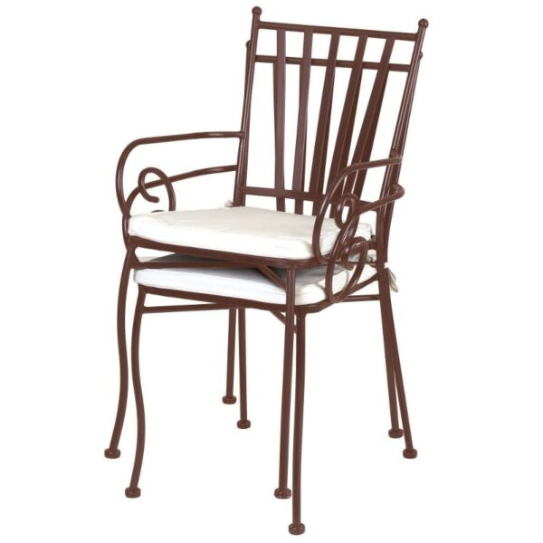 TDW Furniture Algarve Portugal Helene Iron Dining Chair with Arms