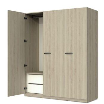 Estoril Oak/Grey 3 Door Wardrobe