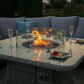 Maze Rattan – Monaco Royal Corner Dining Sofa Set – With Fire pit Table