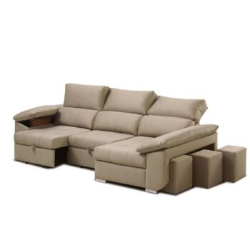 Robson Chaise Sofa + 3 Pouffes