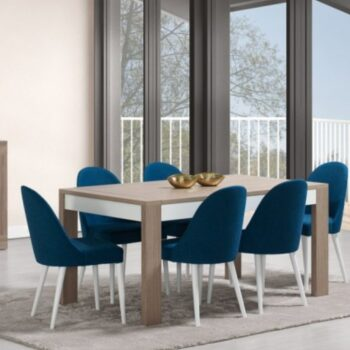 Madrid White/Natural Ext Dining Table
