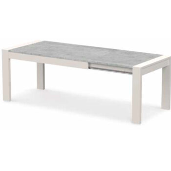 Madrid White/Stone Ext Dining Table